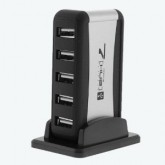 7 Port USB 2.0 Hub w/ AC Adapter (Silver and Black)